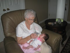 Edith Christine Fail Johnson with Great Granddaughter Breanna Ava Eggers, age 5 weeks.