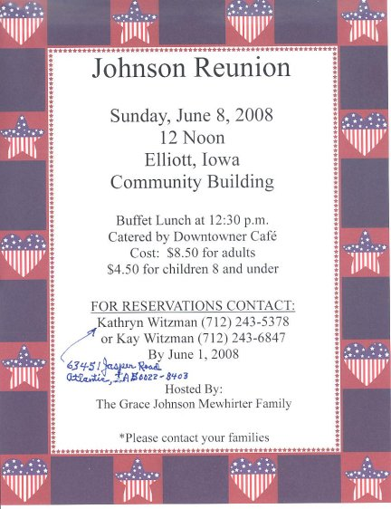 2008 Iowa Johnson Family Reunion Announcement jpg