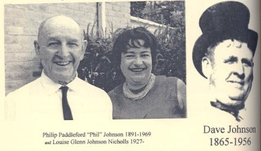 Louise Glenn Johnson Nicholls and her father Philip Paddleford Johnson. To right, PPJ's father Dave Johnson.