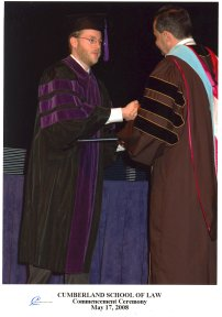 Benjamin Seth Johnson receives JD, Cumberland School of Law, May 17, 2008